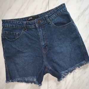 BDG High Rise Blue Denim Raw Hem Shorts Size 30